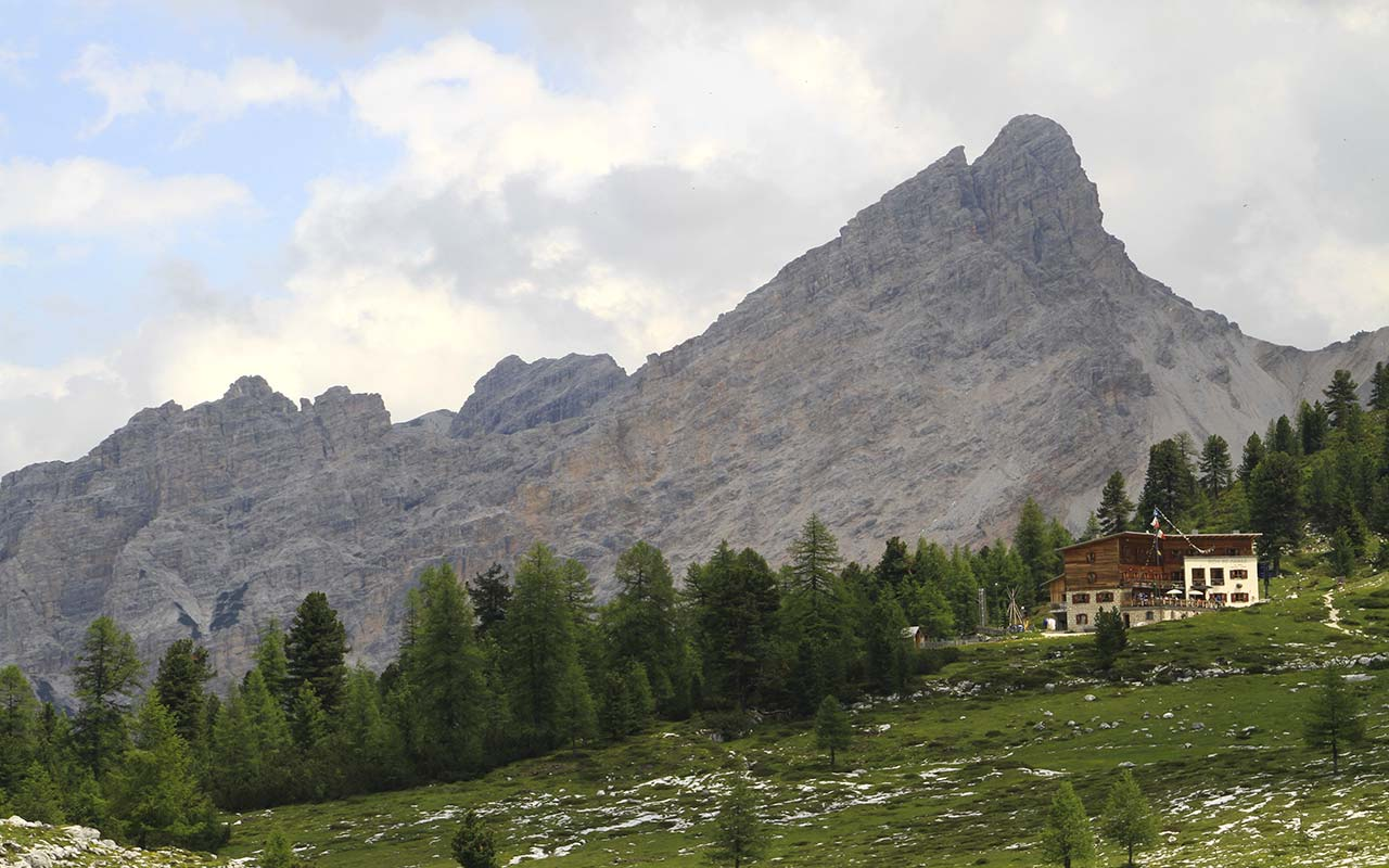Rock mountain of the Dolomites behind Fanes Hut